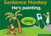 Action Verbs Present Progressive Sentence Monkey Game