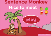 Nice to meet you: Greetings Expression Sentence Monkey Game
