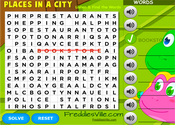 Places Around Vocabulary Word Search Puzzle Online
