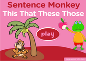 this, that, these, those: demonstrative Pronouns Sentence Monkey Game