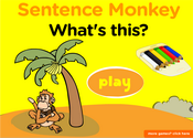 this, that: demonstrative Pronouns Sentence Monkey Game