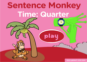 Telling Time, Quarter Past, Quarter to: Sentence Monkey Game