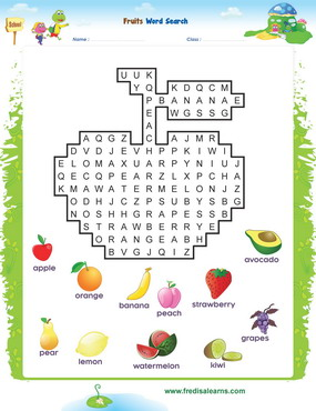 Fruits wordsearch