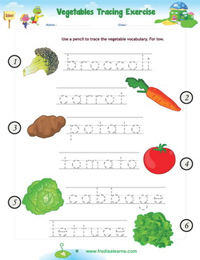 vegetables tracing