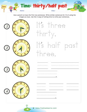 time sentences half past writing