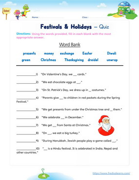 festivals holidays quiz