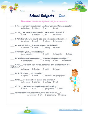school subjects quiz