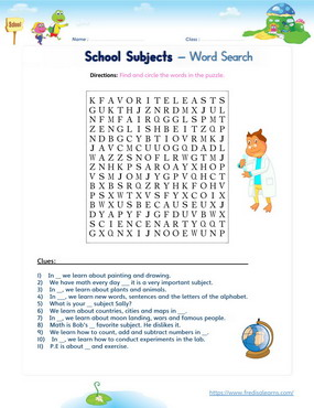 school subjects wordsearch