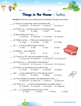 things in house spelling