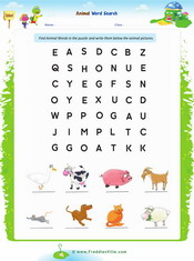 Animals word search