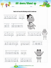 Sit, Stand: Classroom Commands Matching Exercise