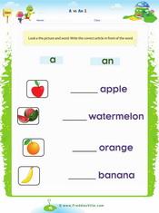 Fruits (a, an) Singular 1