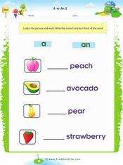 Fruits (a, an) Singular 2