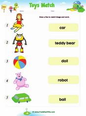 Toys Word Match Worksheet