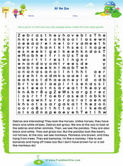 Zoo Animals Text Maze Reading Exercise